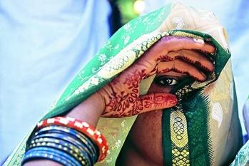Portrait of an Indian from Uttar Pradesh Region during the Holi festival