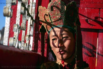 Portrait of a Bouddhist from Sikkim, at the sikkim New Year, INDIA