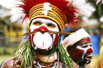 Portrait of a Papuan at the Goroka show from Papua New Guinea