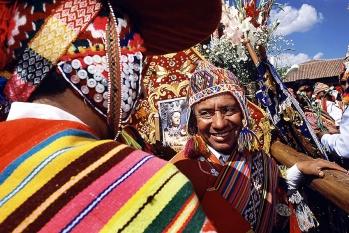 Portrait of a quechuan Peruvian at the Corpus Christi Festival