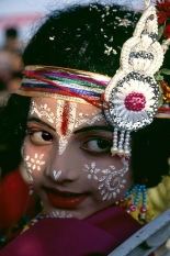 Portrait of Indian Child at the Dhanu Jartra Festival, INDIA
