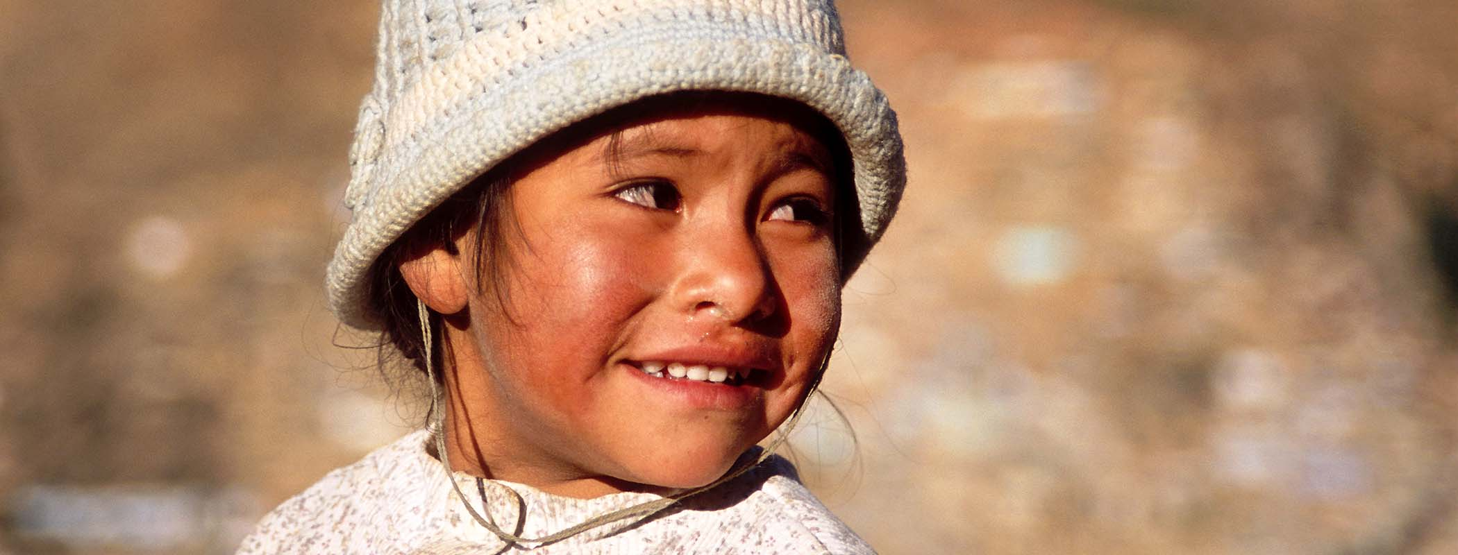 Portrait of a little girl in counrty side of Tarma, PERU